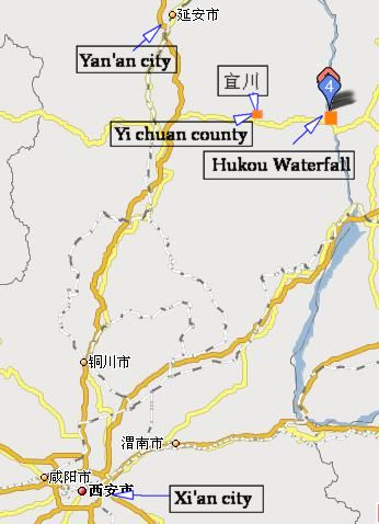 map of Hukou Waterfall