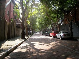 A quiet, leafy street in the former French Concession