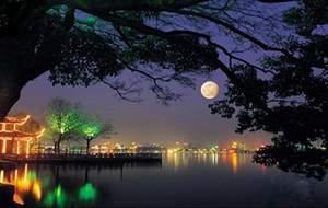 Autumn Moon on Calm Lake
