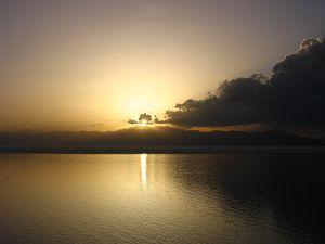 Sayram Lake at Sunset