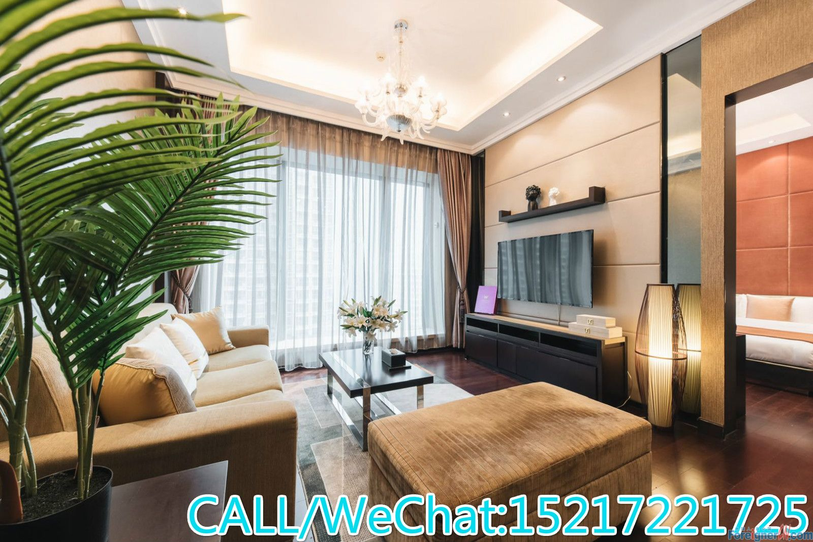 W Building-Modern style 1br with bathtub,facing south and super quietly,good condition.CBD AREA.
