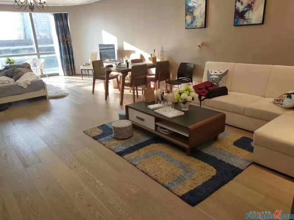 Harmony City--2 bdr and 1 bath; 103sqm Fully-furnished; Good lighting; Central AC and Floor heating subway line1 nearby;shopping mall and times square below Phone: 189 0622 2367